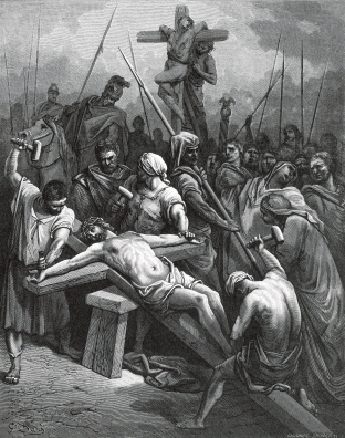 drinking the bitter cup of crucifixion {Wood engraving Crucifixion of Jesus 1866 by Gustave Doré on Wikimedia Commons}