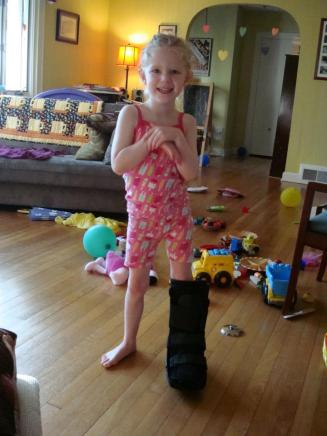 the boot cast was more fun for my five-year-old than for me